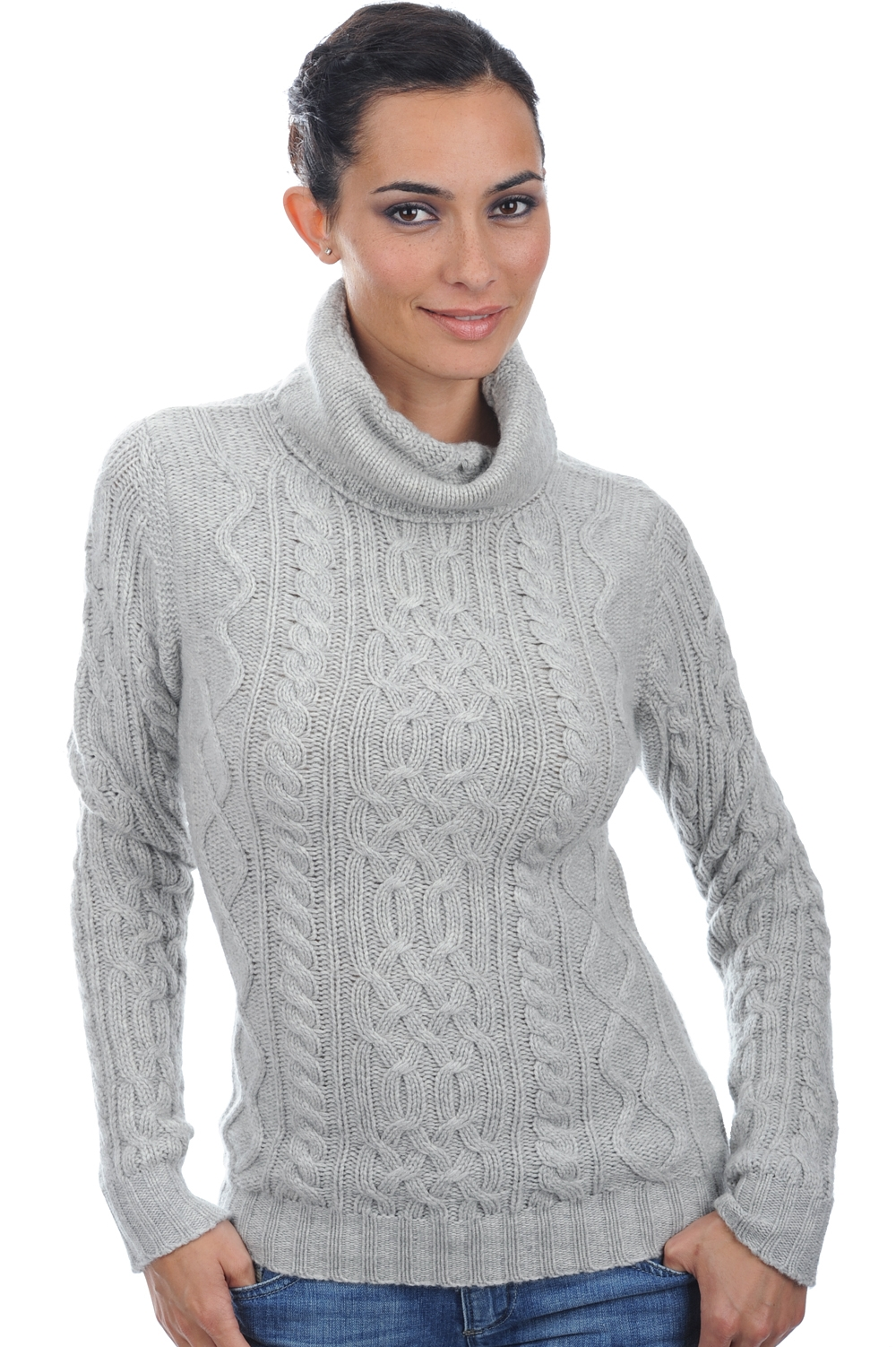 Cachemire pull femme col roule wynona flanelle chine s