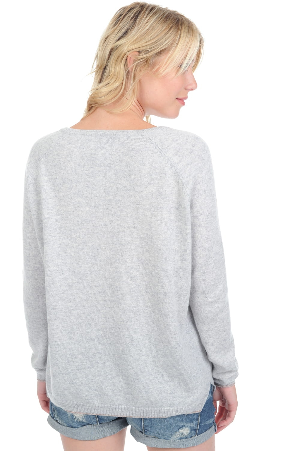 Cachemire pull femme col v shireen flanelle chine t2