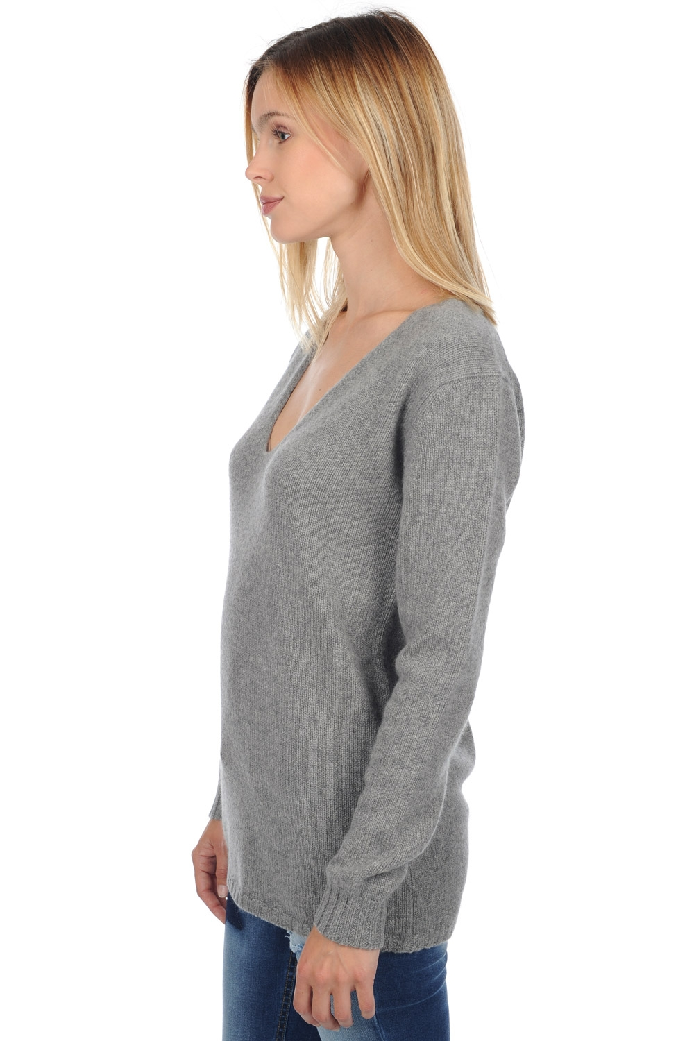 Cachemire pull femme col v vanessa gris chine l