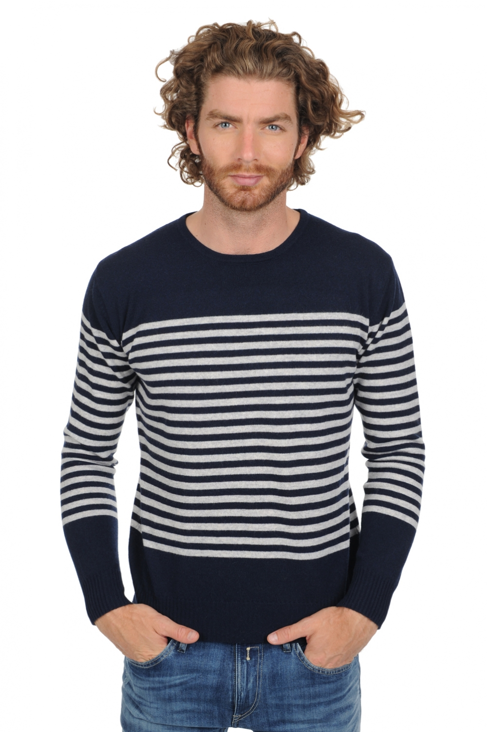 Cachemire pull homme col rond randy marine fonce flanelle chine xl