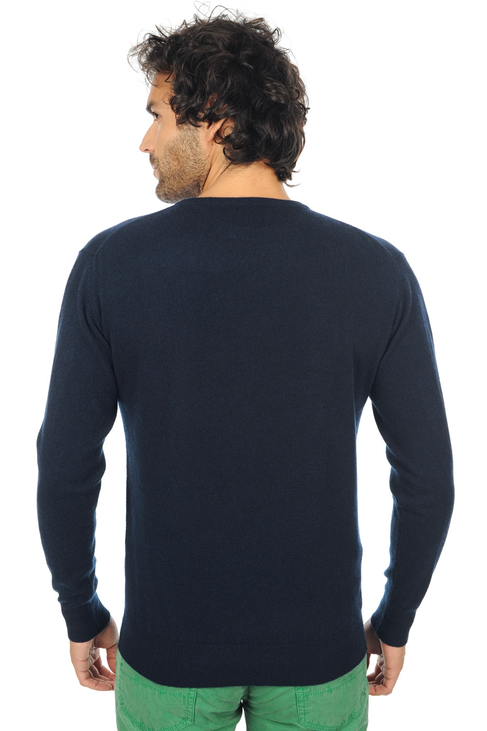 Cachemire pull homme col rond santa cruz marine fonce m