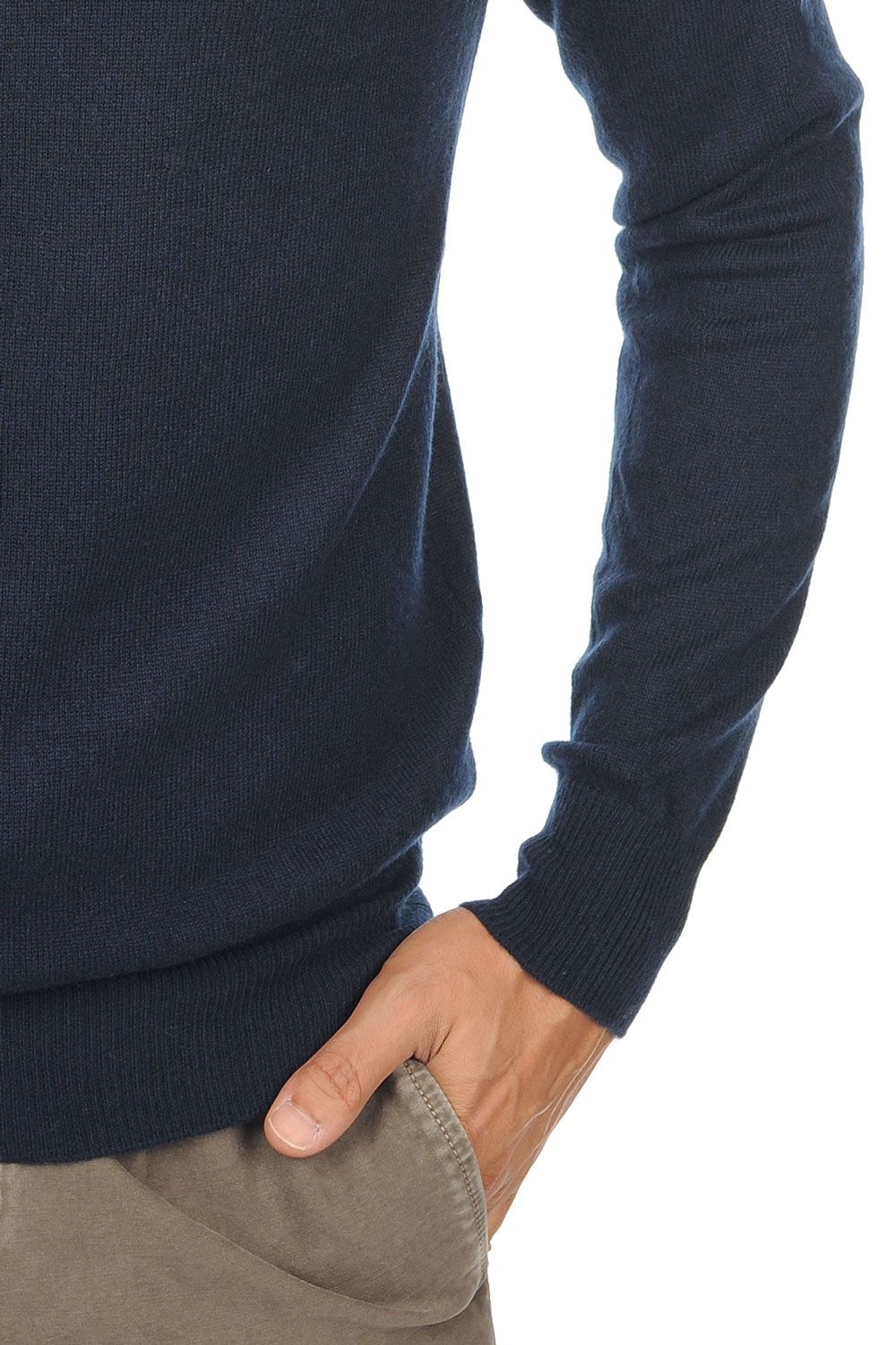 Cachemire pull homme col roule tarry marine fonce m