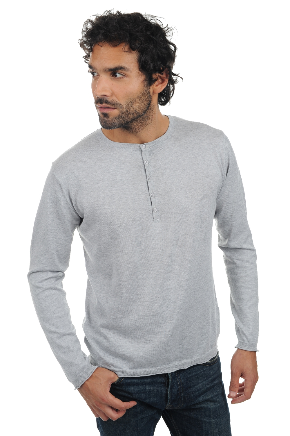 Coton Giza 45 pull homme col rond sergio flanelle xs