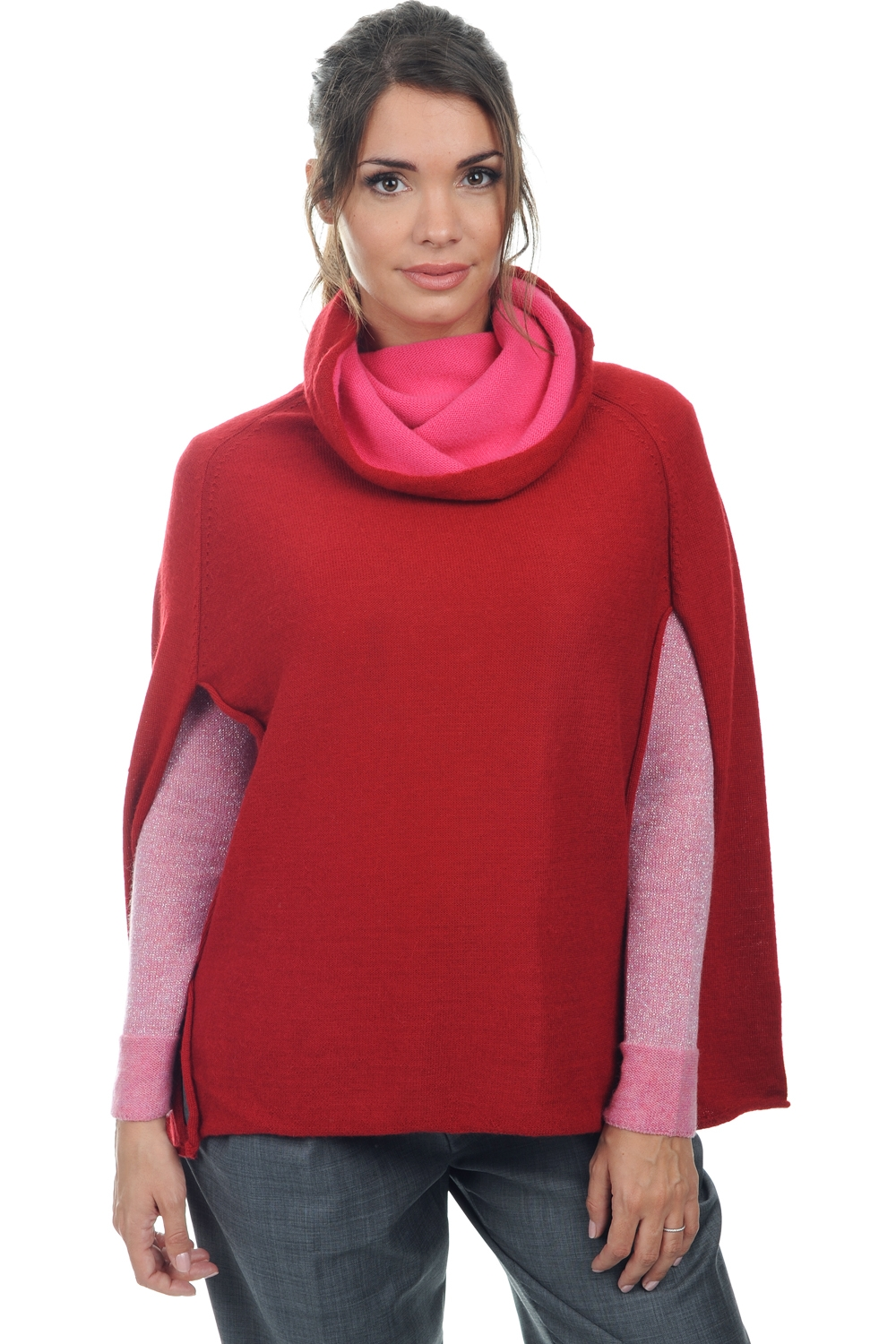 baby alpaga  cachemire pull femme col roule briana rouge taille unique