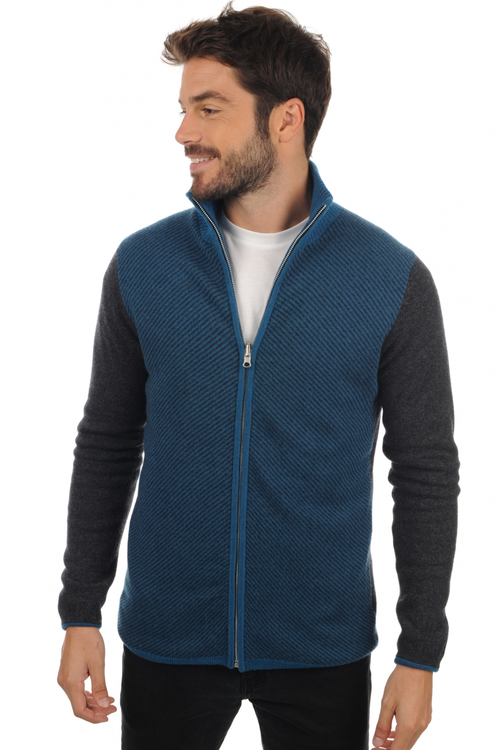 cachemire gilets debardeurs homme joey anthracite chine bleu canard m