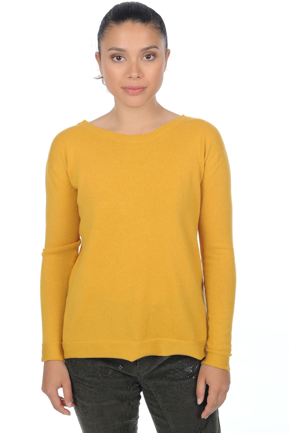 cachemire pull femme col rond jordyn moutarde s