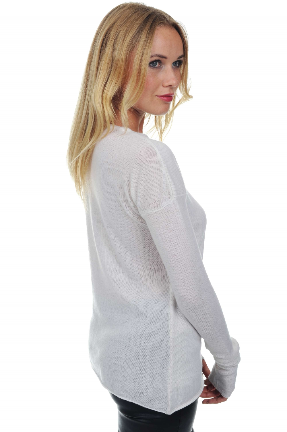 cachemire pull femme col rond romy blanc casse s