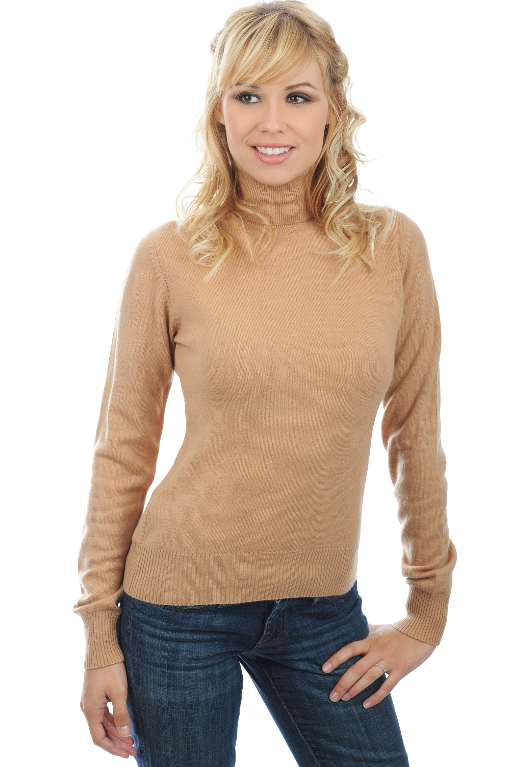 cachemire pull femme col roule lili camel 3xl