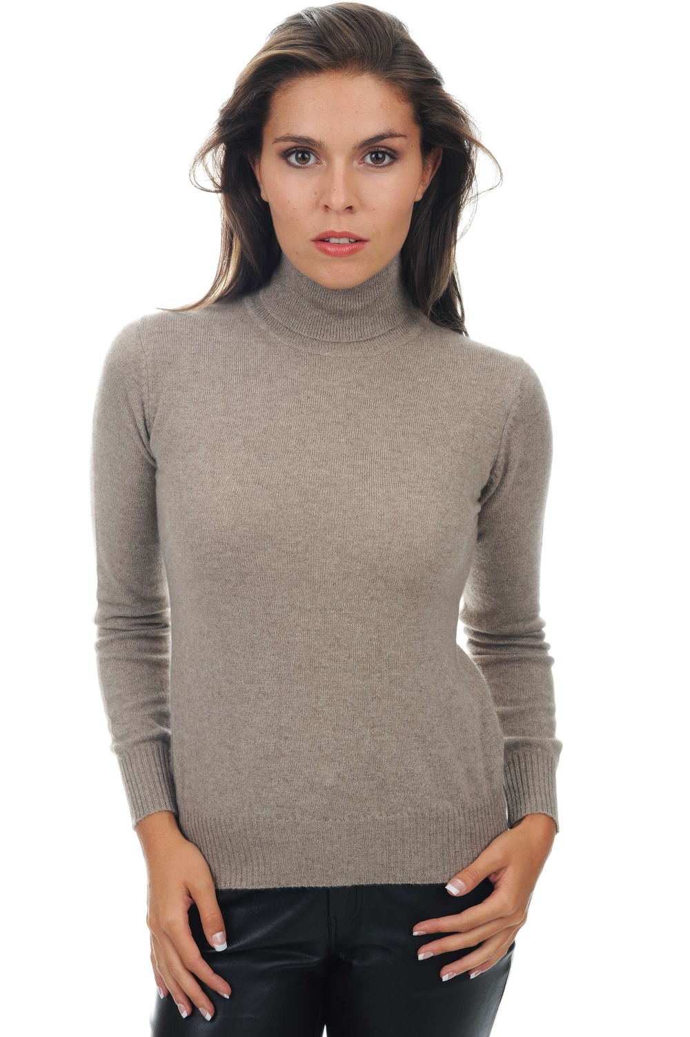 cachemire pull femme col roule lili natural brown chine m