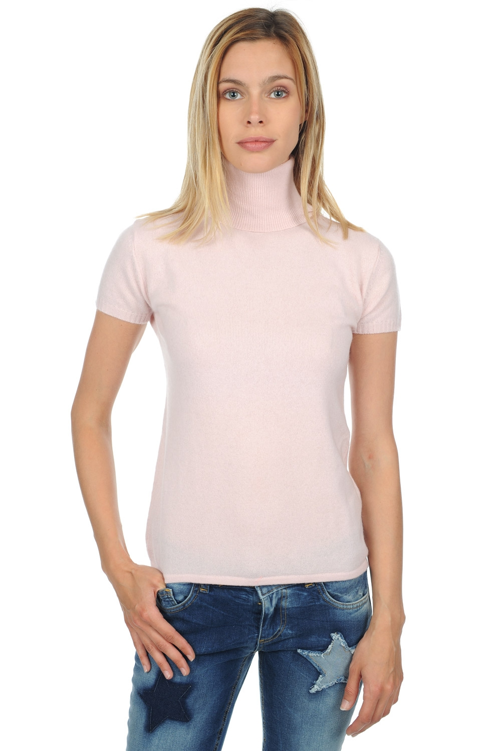 cachemire pull femme col roule olivia rose pale s