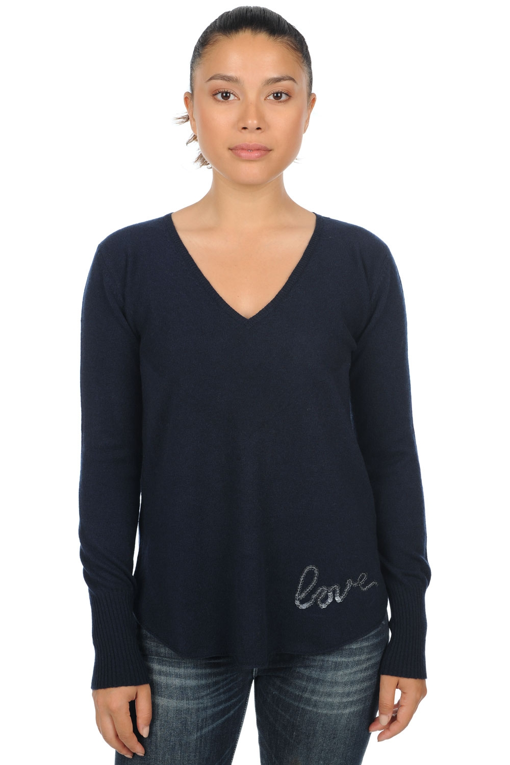 cachemire pull femme col v aenor marine fonce xs