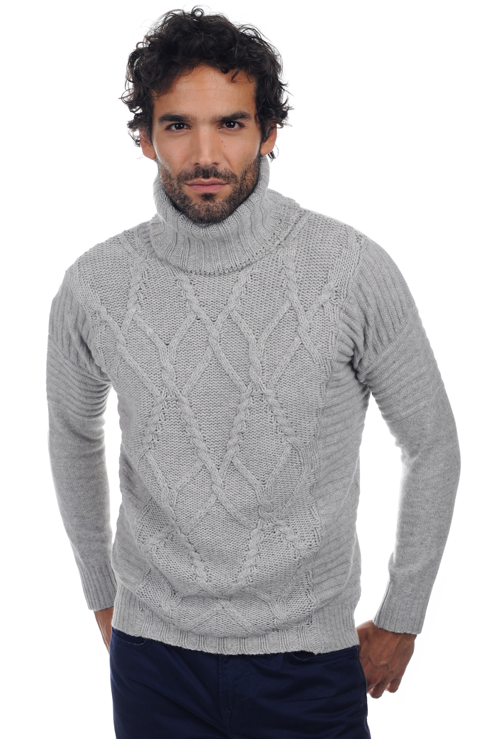 cachemire pull homme col rond elijah flanelle chine m