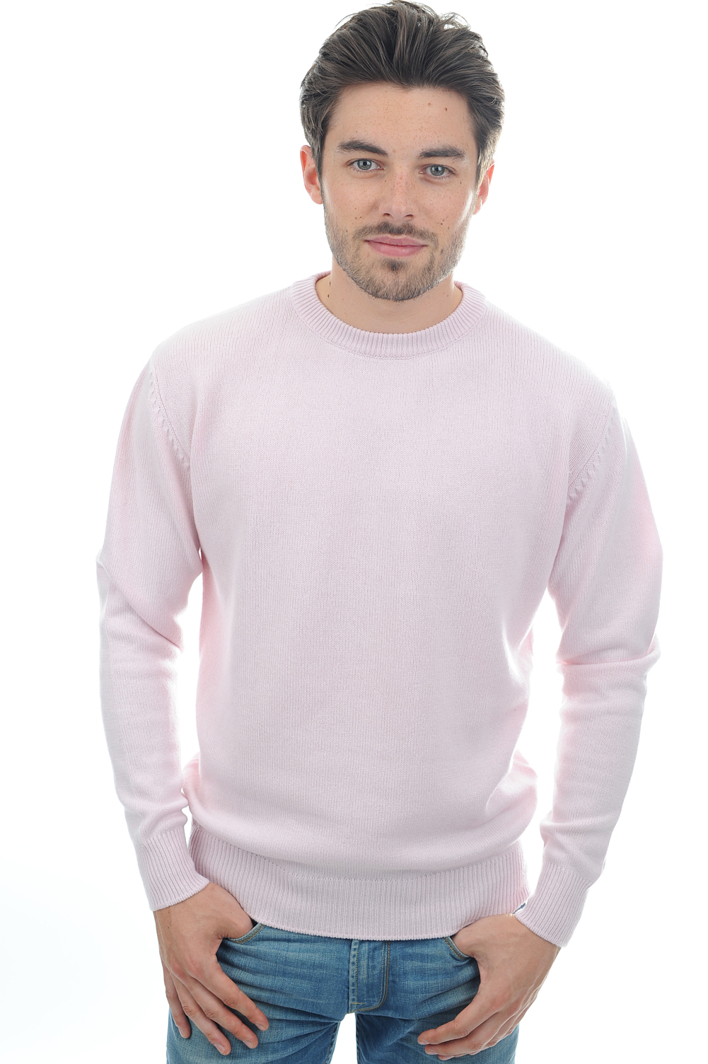 cachemire pull homme col rond nestor 4 fils rose pale m