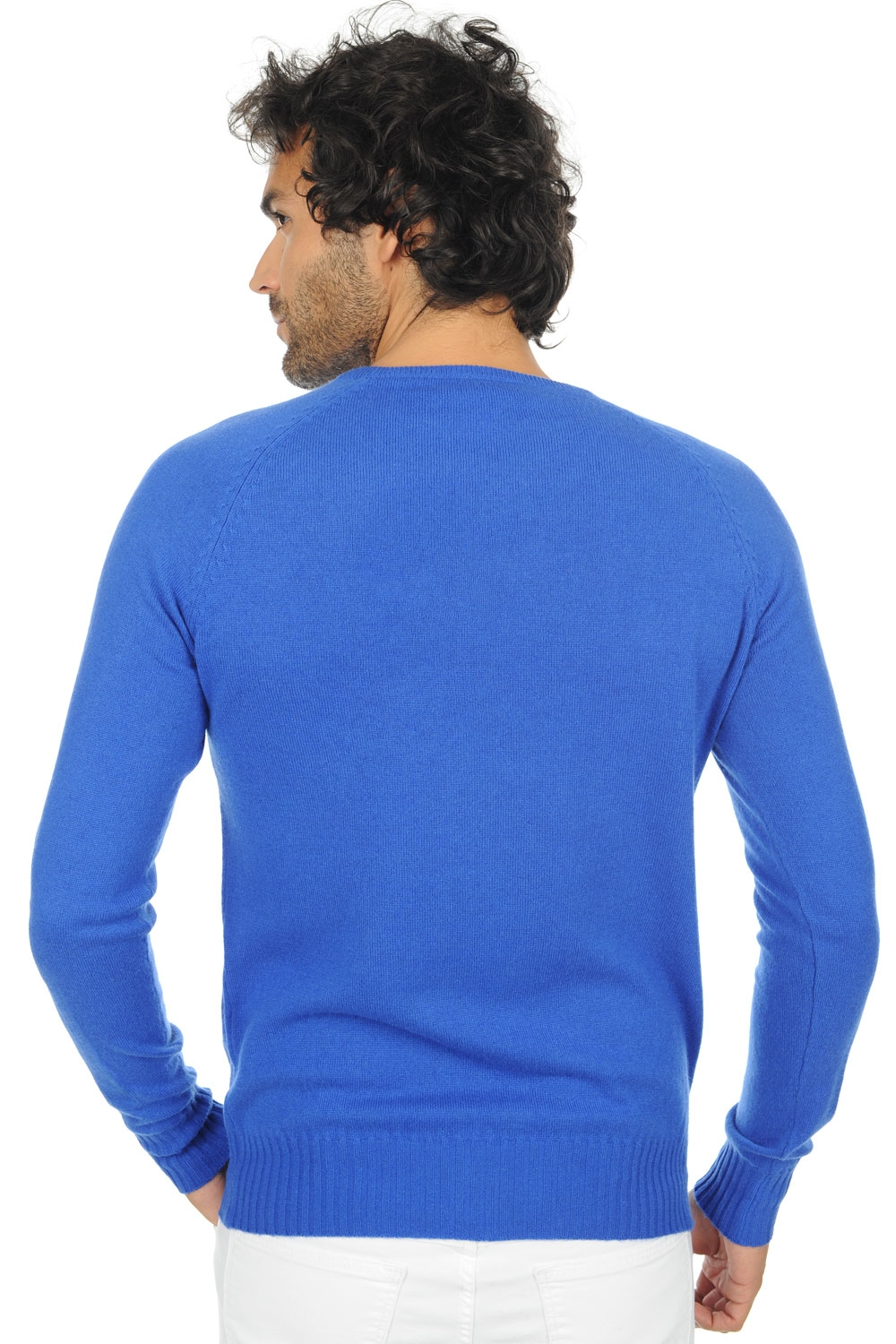 cachemire pull homme col rond youcef bleu lapis m