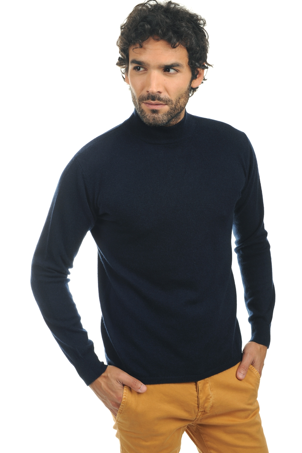 cachemire pull homme col roule frederic marine fonce xl