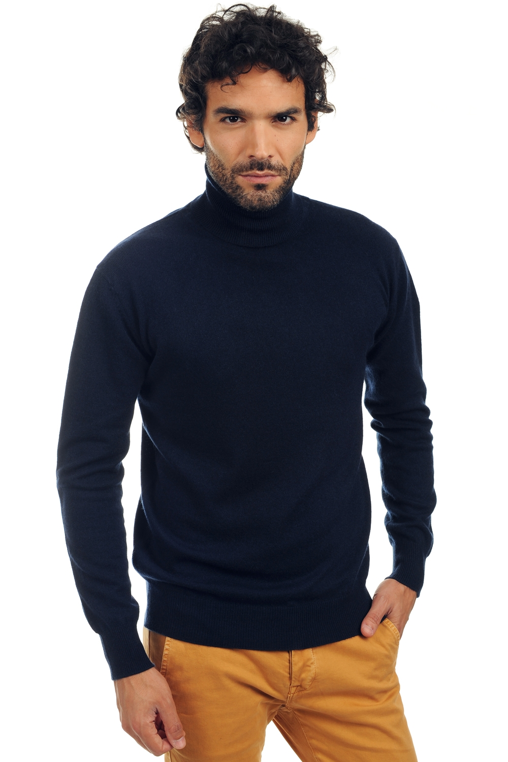cachemire pull homme col roule preston marine fonce m
