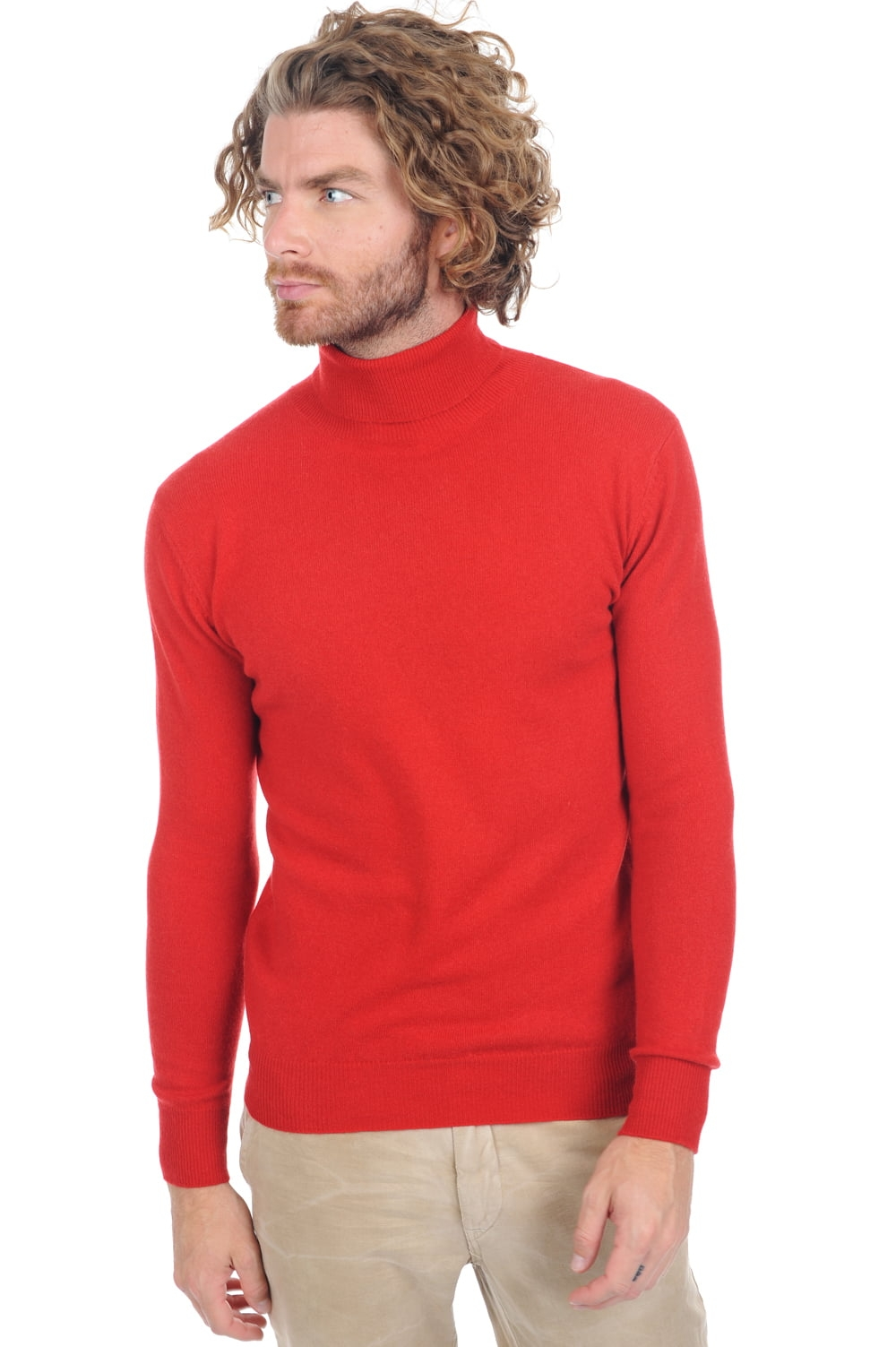 cachemire pull homme col roule tarry ultra red m
