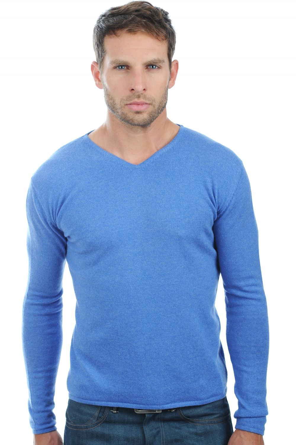 cachemire pull homme col v arty bleu chine m