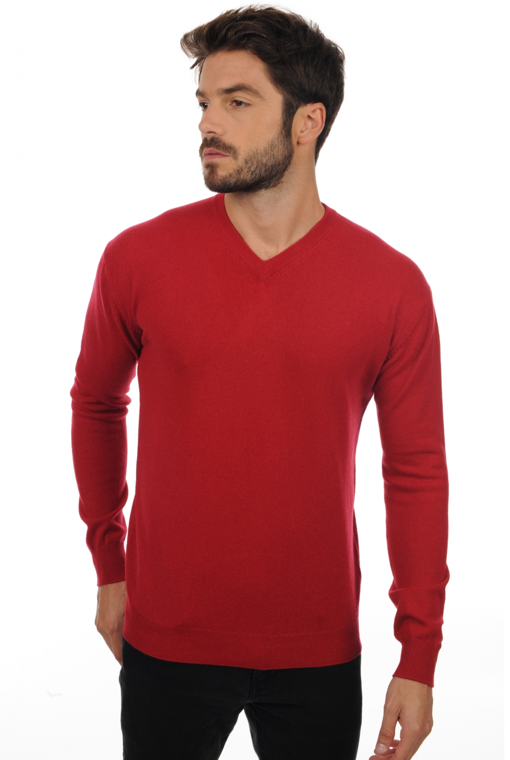 cachemire pull homme col v maddox rouge velours m