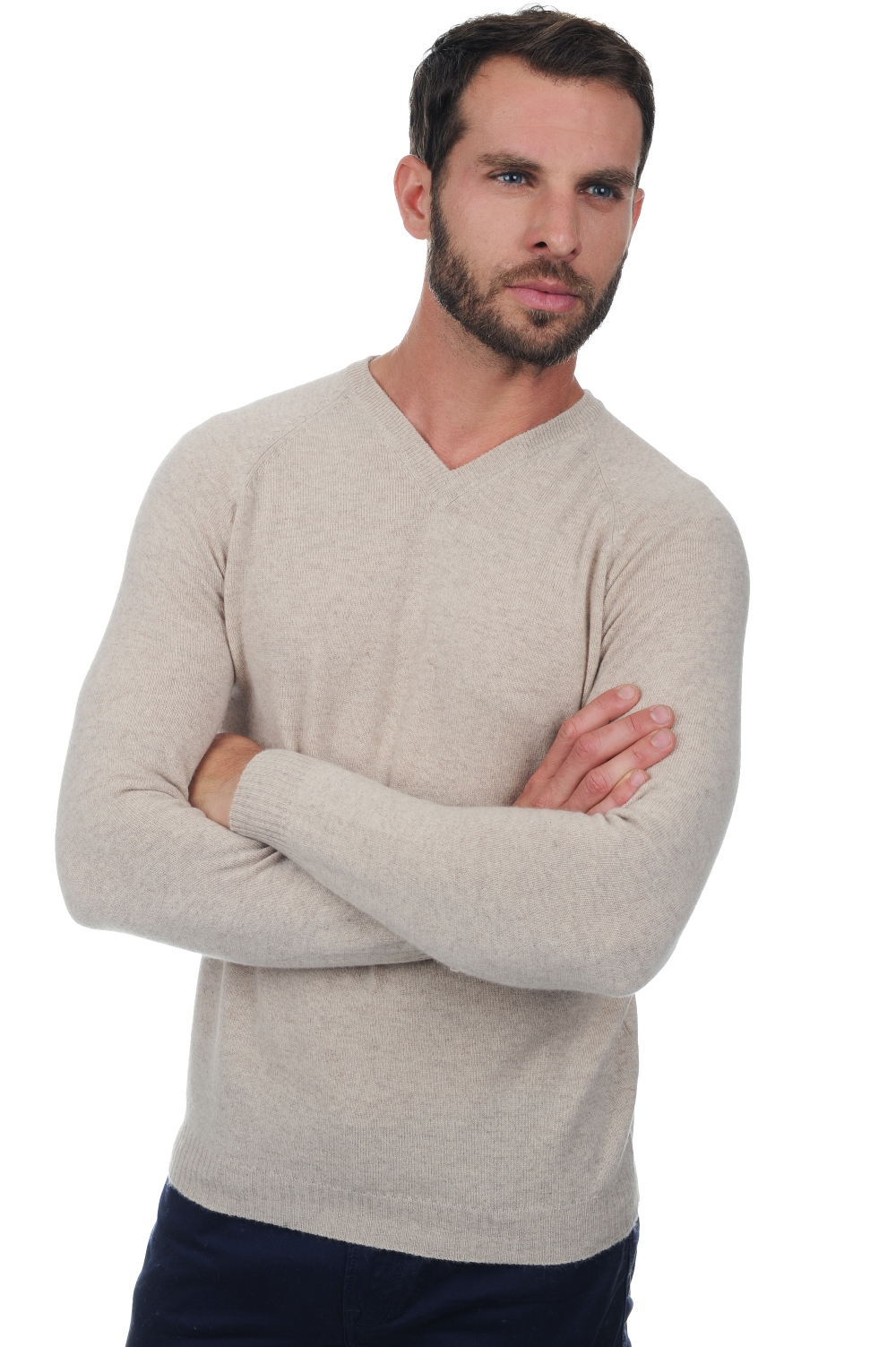 cachemire pull homme col v spike beige intemporel xl