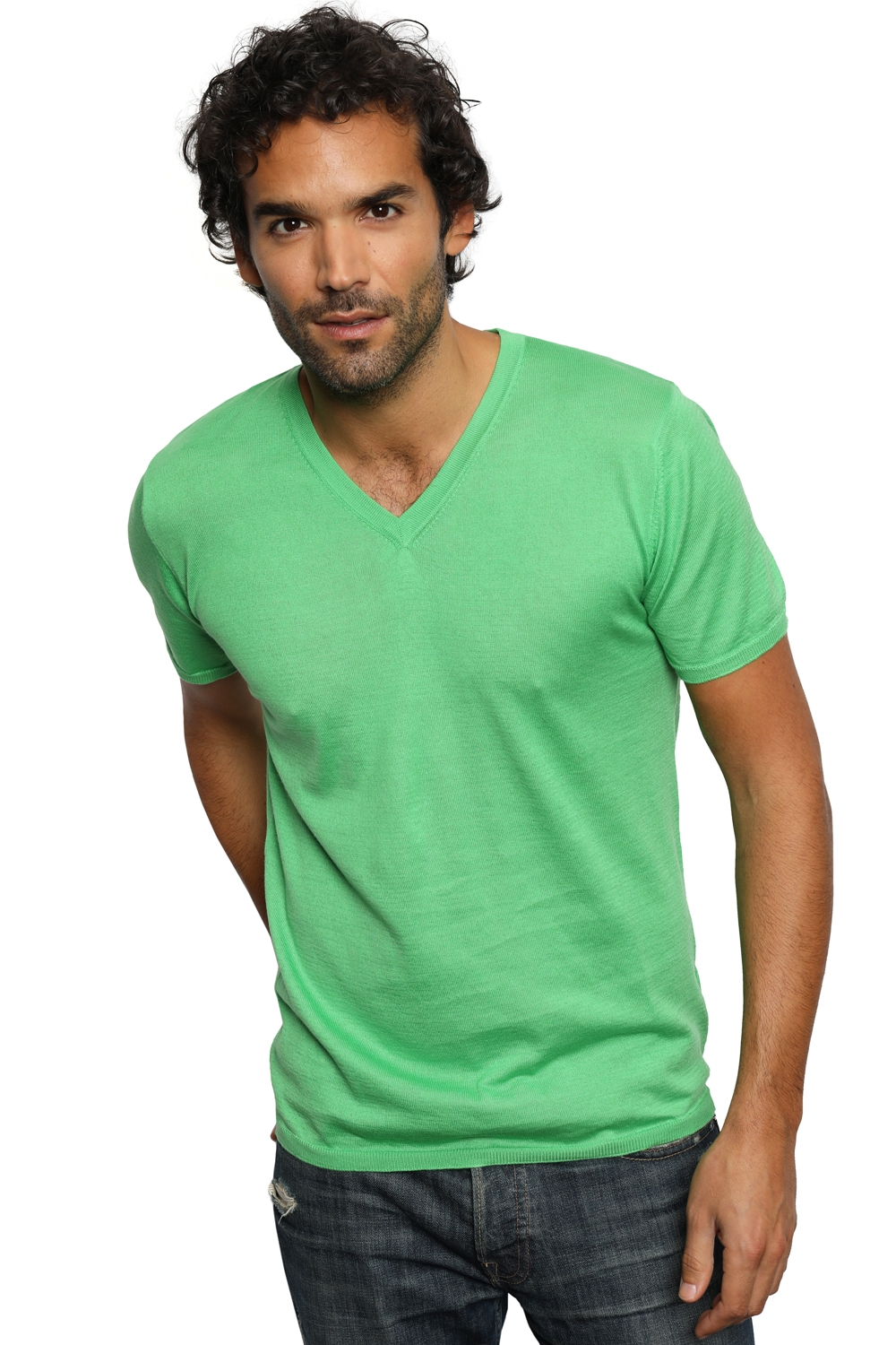 coton giza 45 pull homme col v michael pomme m